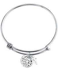 Disney Trust Pixie Charm Bangle Bracelet In Sterling Silver