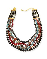 Jose And Maria Barrera Draped Agate Beaded Bib Necklace Black Red