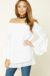 Forever 21 Crochet Paneled Tunic White