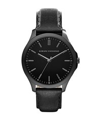Armani Exchange Mens Black Plated Stainless Steel Watch With Leather Strap