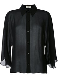 Saint Laurent Semi Sheer Cropped Shirt Black