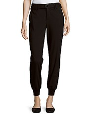 Vince Ribbed Cuff Belted Jogger Pants Black