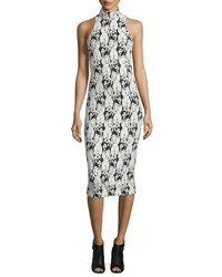 Cushnie Et Ochs Embroidery Print Mock Neck Halter Dress Black White