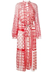 Fendi Geometric Print Maxi Dress Red
