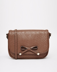Mango Textured Cross Body Bag With Bow Brown