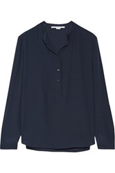 Stella Mccartney Eva Silk Crepe De Chine Blouse Midnight Blue