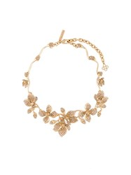 Oscar De La Renta Flower Necklace Metallic