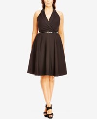 City Chic Plus Size Halter Fit And Flare Dress Black
