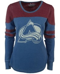 G3 Sports Women's Colorado Avalanche Hat Trick Thermal Long Sleeve T Shirt Blue Burgundy