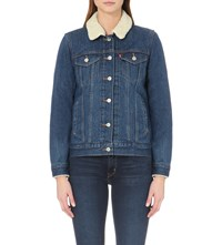 Levi's Sherpa Shearling Collar Denim Jacket Snow Dust