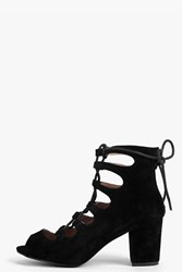 Boohoo Suedette Lace Up Mid Block Heel Shoe Black
