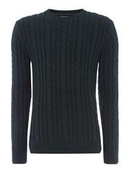 Linea Antoine Cable Knit Crew Neck Dark Green