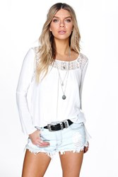 Boohoo Bell Sleeve Crochet Lace Panel Blouse White