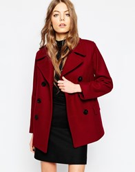 Gloverall Reefer Coat In Cranberry Red