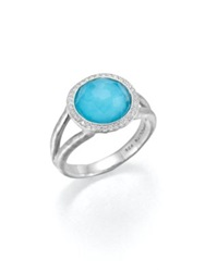 Ippolita Stella Turquoise Clear Quartz Diamond And Sterling Silver Mini Lollipop Doublet Ring Silver Blue