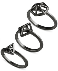 French Connection Gold Tone Mini Geometric Set Of 3 Rings Hematite