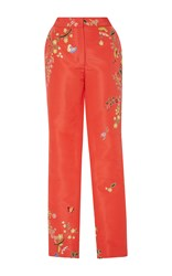 Monique Lhuillier Embroidered Straight Leg Trousers Multi