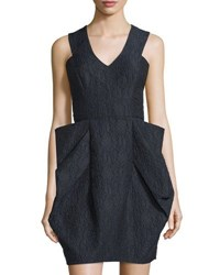 Monique Lhuillier Sleeveless Jacquard Fit And Flare Dress Navy
