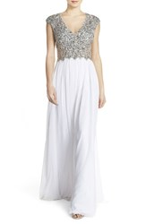 Women's Sean Collection Embellished Mesh And Chiffon Gown