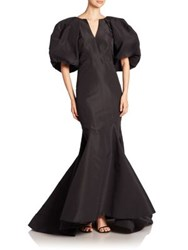 Zac Posen Puff Sleeve Silk Faille Mermaid Gown Black