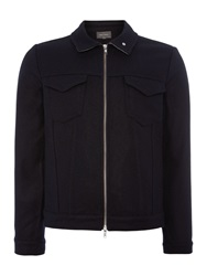 Peter Werth Duke Melton Full Zip Bomber Jacket Navy