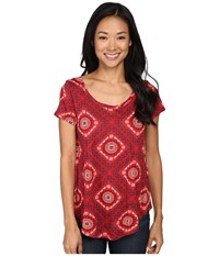 Lucky Brand Tile Tee Red Multi Women's T Shirt