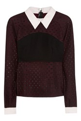 Erdem Ebony Polka Dot Tulle And Crepe Blouse Red