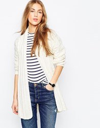Asos Belted Cardigan In Cable Knit Cream