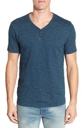 Lucky Brand Men's 'Salt Point' Short Sleeve Linen And Cotton Henley Indigo