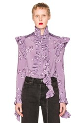 Vetements Flower Print Blouse In Purple Floral Purple Floral