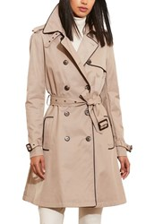 Lauren Ralph Lauren Petite Women's Faux Leather Trim Trench Coat Sand