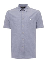 Army And Navy Byron Plain Short Sleeved Chambray Mid Blue