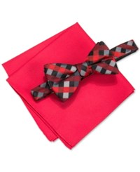 Alfani Men's Mars Gingham Bow Tie And Solid Pocket Square Set Only At Macy's Red