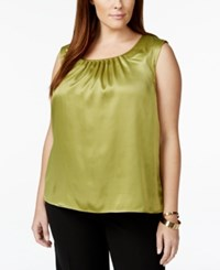 Kasper Plus Size Pleat Neck Satin Shell