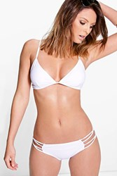 Boohoo Mix And Match Caged Triangle Bikini Top White