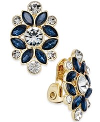 Charter Club Gold Tone Blue And Clear Crystal Clip On Earrings Only At Macy's