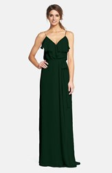 Nouvelle Amsale Women's 'Drew' Ruffle Front Chiffon Gown Forest