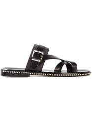 Louis Leeman Studded Buckle Sandals Black