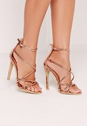 Missguided Strappy Barely There Heeled Sandals Rose Gold Pink
