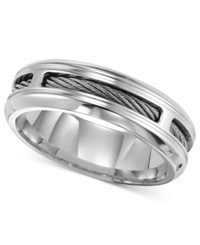 Triton Men's Stainless Steel Ring Comfort Fit Cable Wedding Band