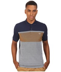 Fred Perry Oxford Stripe Pique Shirt Carbon Blue Men's Short Sleeve Knit Navy