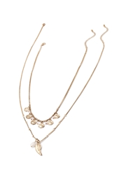 Forever 21 Wing Charm Necklace Set Antic Gold Pink