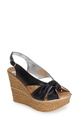 Women's Love And Liberty 'Audra' Slingback Wedge Black Leather