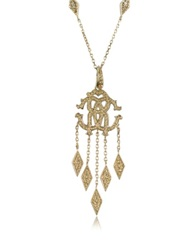 Roberto Cavalli Rc Luxe Metal Pendant Necklace W Crystals Gold