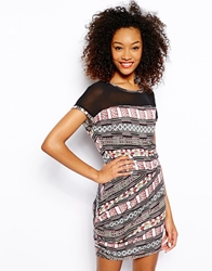 Vero Moda Mesh Insert Print T Shirt Dress Multi