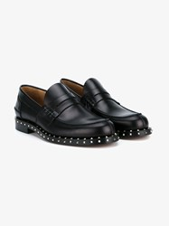 Valentino Rockstud Penny Loafers Black Silver White