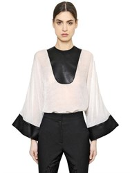 Francesco Scognamiglio Faux Leather And Viscose Devore Top