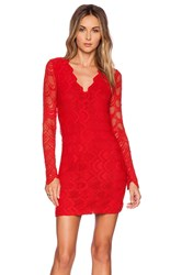 Nightcap Victorian Lace Long Sleeve Dress Red