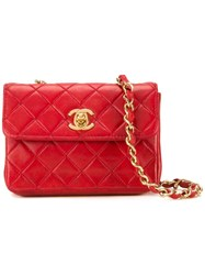 Chanel Vintage Micro Flap Crossbody Bag Red