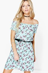 Boohoo Floral Off The Shoulder Woven Dress Turquoise